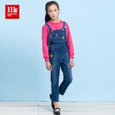 JJLKIDS 女童 美式街頭女孩牛仔吊帶褲(牛仔藍)