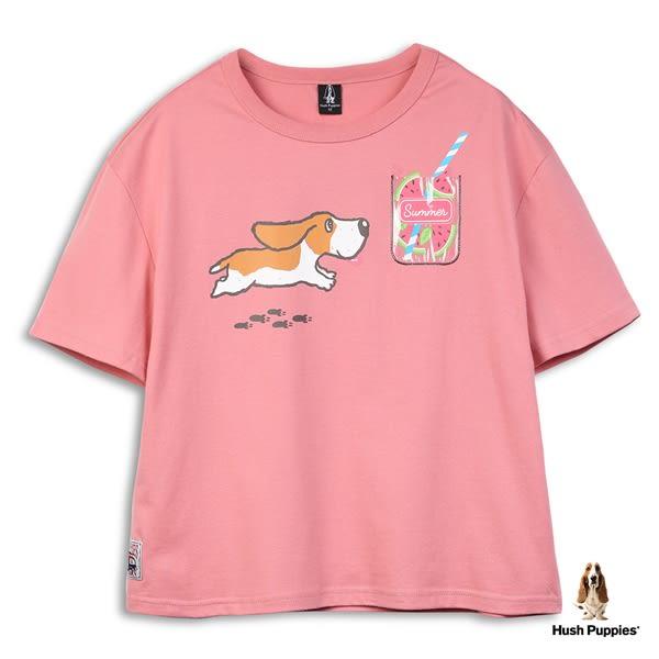 Hush Puppies T恤 女裝夏日趣味飲料圖騰寬鬆短版T恤
