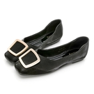 PLAYBOY 優雅浪漫 顯瘦方頭平底鞋-黑(Y7309)