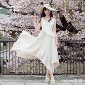 超仙氣質小清新大碼擺吊帶洋裝不規則無袖性感長裙 js4908『miss洛羽』