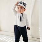 長袖連身衣 條紋 領帶 男寶寶 爬服 哈衣 附帽子 小紳士 小花童 Augelute Baby 70110