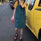 學院風夏裝時尚寬鬆純色基礎背帶連身裙吊帶裙       米希美衣