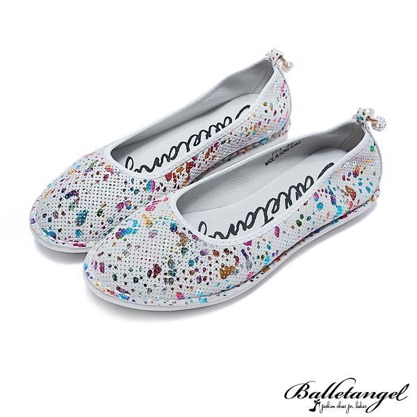 娃娃鞋 珍珠點綴素面軟Q牛皮娃娃鞋(五彩白)*BalletAngel【18-773w】【現貨】