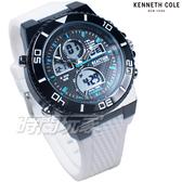 Kenneth Cole 運動視界 雙顯錶 電子錶 多功能 計時碼錶 男錶 橡膠錶帶 白色 RK50700010