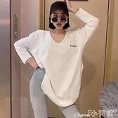 長款T恤 2021秋冬新款寬鬆v領白色中長款t恤女內搭開叉長袖加絨打底衫上衣 小天使