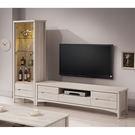 【森可家居】瑪奇朵8尺L櫃(全組) 7ZX374-2 客廳高低櫃 展示 電視櫃 木紋質感 無印風 北歐風  刷白