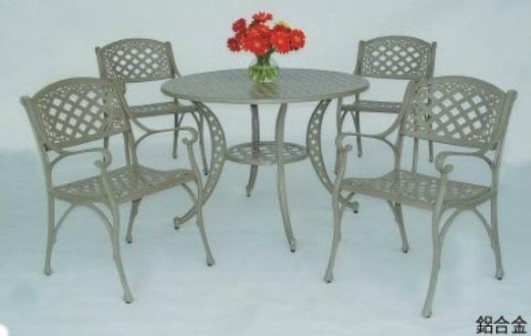 【南洋風休閒傢俱】戶外休閒桌椅系列-金格扶手鋁合金桌椅組 戶外休閒餐桌椅組  (#342 #20305)