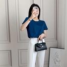 涼感衣 韓國夏季垂感絲光棉短袖T恤女圓領涼感百搭純色基礎款V領上衣-Ballet朵朵