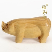 [超豐國際]木雕豬 精美手把件 2寸黃楊木雕生肖擺件 生肖豬1入
