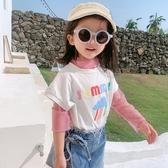 女童短袖T恤中小女孩兒童夏裝新款卡通印花圓領純棉半袖上衣 快速出貨