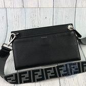 BRAND楓月 FENDI 芬迪 7M0254 黑色 牛皮 FF背帶 LOGO壓印 肩背長夾 隨身小包