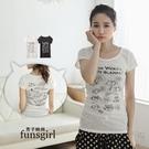 台灣製簡約美式手繪貓咪線稿印刷棉質上衣-2色~funsgirl芳子時尚