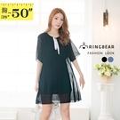 小洋裝--知性優美簡潔蝴蝶結系帶領口百褶雪紡連身裙(黑.藍L-4L)-D565眼圈熊中大尺碼中大尺碼