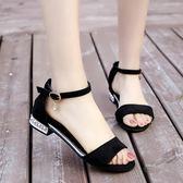 露趾平底涼鞋女韓版一字扣羅馬鞋【南風小舖】