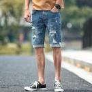 短褲 破洞牛仔褲男夏季薄款牛仔短褲男潮5...