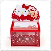 小花花日本精品♥ Hello Kitty 小熊 紅色 點點 蝴蝶結 桌上型 置物盒 收納盒+橫式便條紙 62021708