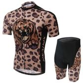 自行車衣-(短袖套裝)-帥氣褐豹舒適排汗男單車服套裝73er32[時尚巴黎]