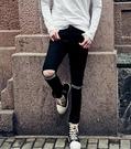 找到自己品牌 男 時尚 街頭 潮 破洞 個性橫條紋貼布 牛仔褲 九分褲 小腳褲 窄管褲