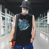 夏季坎袖背心男士韓版潮流寬鬆無袖t恤港風嘻哈個性坎肩上衣夢想巴士