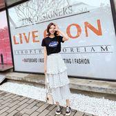 海外發貨不退換韓版大尺碼上衣 半身裙套裝523夏裝胖MM波點蛋糕裙短袖t恤兩件套大碼女裝(F5044B)