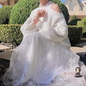 紗裙 溫柔風高腰珍珠網紗半身裙秋冬女中長款a字仙女裙冬天配毛衣紗裙 4色