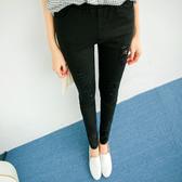 MIUSTAR 鬆緊口袋刷破長褲(共2色,S-XL)【NH1401EW】預購