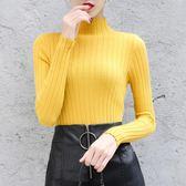 秋冬季半高領緊身毛衣女韓版百搭修身長袖套頭短款內搭打底針織衫