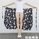 泰國度假半身裙女2020春夏新款海邊沙灘裙一片式裹裙雪紡碎花長裙 自由角落