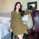 VK精品服飾 韓系雙排釦V領氣質西裝領收腰修身長袖洋裝
