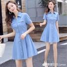 牛仔洋裝女夏裝新款韓版V領修身法式收腰短袖時尚牛仔裙子 檸檬衣舍