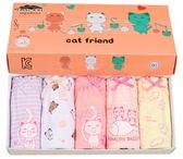韓國原單貓&魚系列女童純棉三角內褲盒裝五件組 全棉女童內褲