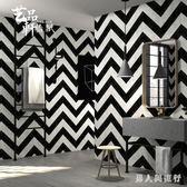 0.5*10m墻紙北歐黑白條紋壁紙現代簡約幾何曲線條紋酒吧服裝店客廳 XY7183【男人與流行】