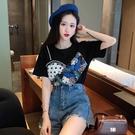 荷葉邊上衣 2021夏裝新款韓版寬鬆顯瘦荷葉邊拼接假兩件上衣ins短袖T恤女百搭 寶貝寶貝計畫 上新