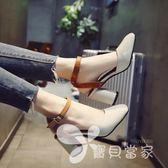 女士涼鞋女春2018新款韓版百搭時尚一字扣包頭粗跟高跟鞋羅馬鞋子