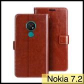 【萌萌噠】諾基亞 Nokia 7.2 (6.3吋)  瘋馬紋皮紋側翻皮套 商務素面 支架 插卡 磁扣 錢包款 手機套