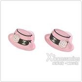 CHANEL 雙C LOGO山茶花女士帽設計穿式耳環(粉)