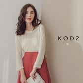 東京著衣【KODZ】簡約微透光七分袖針織上衣-S.M(170772)