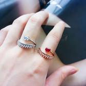 微鑲彩色水晶戒指 精緻百搭均碼水滴寶石雙層指環尾戒【ADE687】