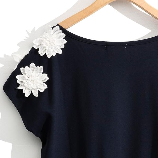 秋冬[H2O]立體花朵裝飾法式連袖上衣 - 藍/白色 #0651005