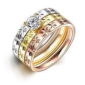 鈦鋼戒指 鑲鑽-時尚精緻三環流行生日情人節禮物女飾品73le20[時尚巴黎]