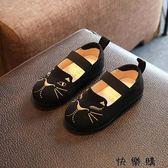 寶寶刺繡貓咪鞋單鞋公主鞋防滑鞋磨砂皮鞋