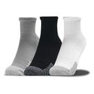 UA HeatGear® Quarter 襪子 長襪 透氣 緩衝 休閒 訓練 黑白灰 三入【運動世界】1353262-035