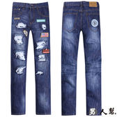 ~男人幫~K0389 ~韓國同步 ~刷破款窄版布標破壞中直筒小直筒牛仔褲潮流~