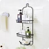 浴室免打孔置物架衛生間鐵藝收納架廚房多層整理掛架壁掛式儲物架   WD