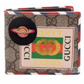 【GUCCI 古馳】473905 經典Courrier系列 GG Supreme印花貼布牛皮飾邊折疊短夾(八卡)