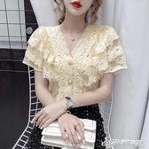 蕾絲上衣 雪紡襯衫女夏短袖2020新款法式性感V領鏤空蕾絲花邊拼接洋氣上衣