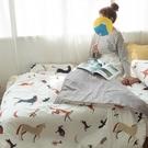 馬與狐狸的對話 QPM1雙人加大鋪棉床包(6X6.2)三件組 四季磨毛布 北歐風 台灣製 棉床本舖