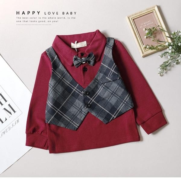 英倫格紋背心假兩件長袖上衣 深紅色 附領結別針 襯衫 小紳士 男童裝 男童上衣 冬天 厚長袖