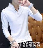 長袖V領上衣服小衫 2018春季韓版修身百搭打底衫潮流衛衣 法布蕾輕時尚