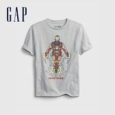 Gap男童 Gap x Marvel 漫威系列純棉短袖T恤 689819-灰色
